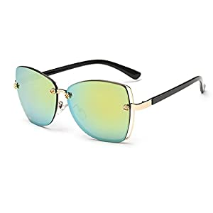 Konalla Square Rimless Flash Mirror Metal Little Flower Sunglasses for Womens C2