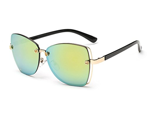Konalla Square Rimless Flash Mirror Metal Little Flower Sunglasses for Womens - Brand German Sunglasses