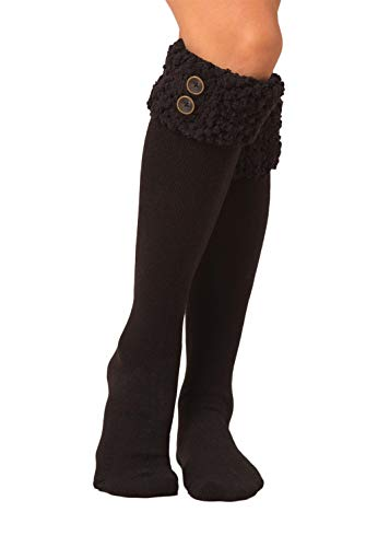 Simply Noelle Shearling Boot Socks in Black