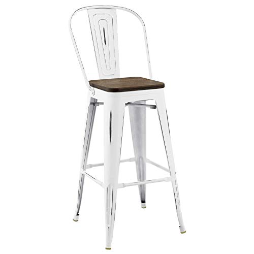 Modway Promenade Modern Aluminum Bistro Bar Stool With Bamboo Seat in ()