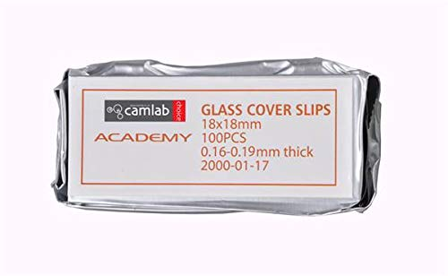 Camlab 1196580 Academy Cover Slip, No.1.5, 0.16 mm-0.19 mm Thick (Pack of 100) Camlab Limited