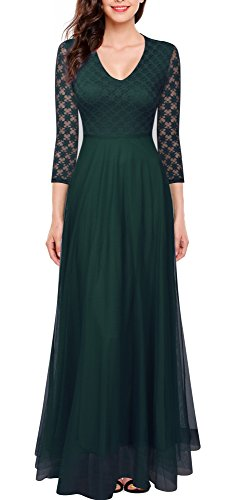 FORTRIC Women 3/4 Sleeves Top Lace See-Through Back Wedding Maxi Bridesmaid Long Dress Green L