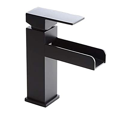 Homary Modern Waterfall Spout Bathroom Vanity Sink Faucet Single Lever Handle One Hole cUPC Certified Lead Free Deck Mount Bathroom Sink Faucet with Pop Up Drain