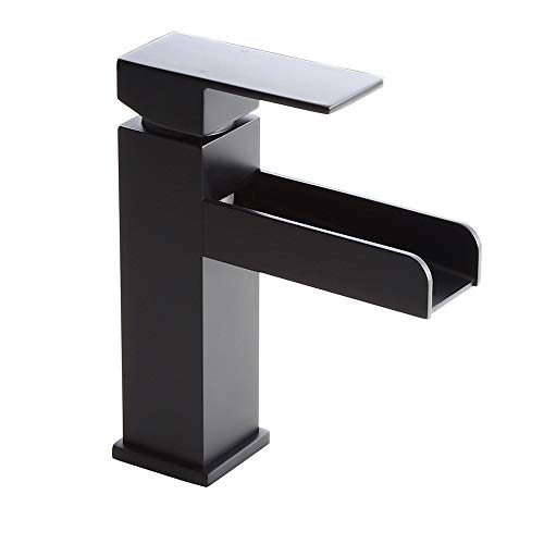 (Homary Contemporary Matte Black Waterfall Bathroom Vanity Sink Faucet Lead Free Solid Brass Single Handle One Hole Deck-Mount Lavatory Sink Faucet Pop Up Drain Included, cUPC Listed)