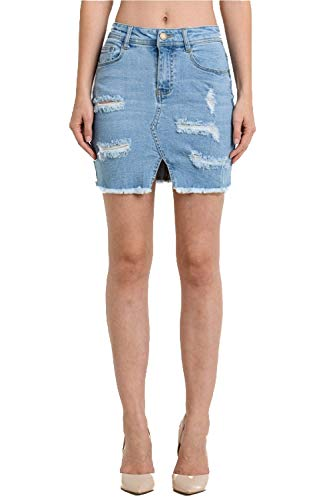 - TwiinSisters Women's Stretch Frayed Hem Denim Mini Short Skirts Small to 3X