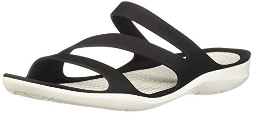 Crocs Women's Swiftwater Sandal, Black/White, 8 M US ()