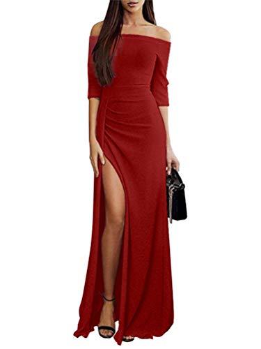 Dress Bodas Sexy Manga Elegante Fit Maxi Orandesigne Invierno Coctel Moda Shoulder Rojo Otoño Vestidos Largo Off 4 Fiesta B De Mujer Slim Vestido 3 IwqCqTZ