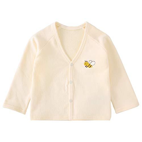 pureborn Baby Boys Girls Cardigan Top Cotton Sweater Shirt Spring Jacket Beige Bees 1224M