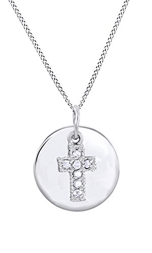 AFFY White Natural Diamond Cross on Disc Pendant Necklace in 14k White Gold Over Sterling Silver (0.1 Ct)