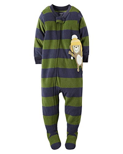 (Carter's Baby Boys' One Piece Footed Fleece Pajamas (24 Months, Striped Monkey)