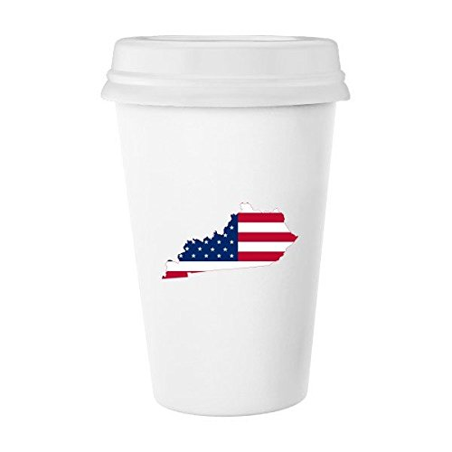 The United States Of America USA Kentucky Map Stars And Stripes Flag Shape Classic Mug White Pottery Ceramic Cup Milk Coffee Cup Gift 350 ml