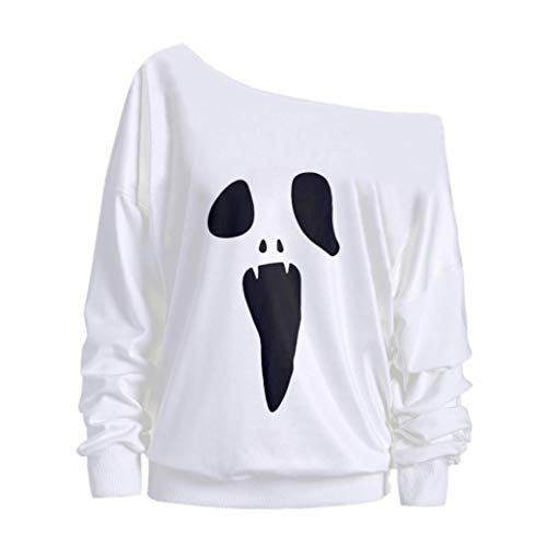Womens Halloween Costume Autumn Warmer Out Shoulder Long Sleeve Ghost Print Sweatshirt Pullover Tops Blouse (S, White) by Appoi Halloween Men's and Women's Tops