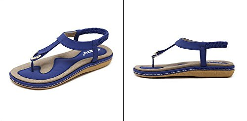 Mädchen Elastische T Flip für Thongs Frauen Strand Flache und Perlen Böhmen Vocni Sandalen Clip Blau aus Sommer Stil Flache Damen Sandalen Flops mit Metall Schuhe Hausschuhe Schuhe Toe Riemen qSTpa