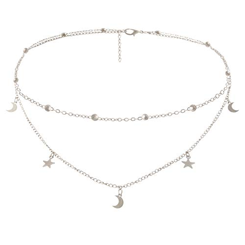 BaubleStar Fashion Layering Star Moon Charm Pendant Tassel Necklace Silver Chain Choker Collar Multi Layered Statement Jewelry Women Girls B24S