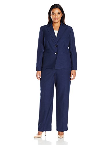 Le Suit Women's Plus Size Two Button Pant Suit, Navy, 24W by Le Suit