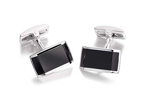 - Hoxton London Men's Sterling Silver and Onyx Rectangle Cufflinks