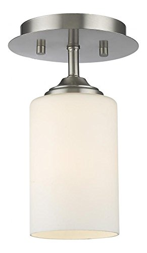 435F1-BN Brushed Nickel Bordeaux 1 Light Flush Mount Ceiling Fixture with Matte Opal Glass Shade