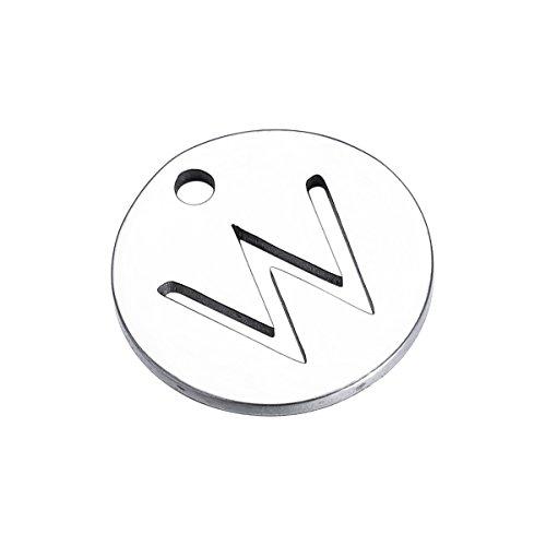 (HooAMI Alphabet Letter W Silver Tone Round Disc Initial Charms for Bracelet Necklace 10pcs)