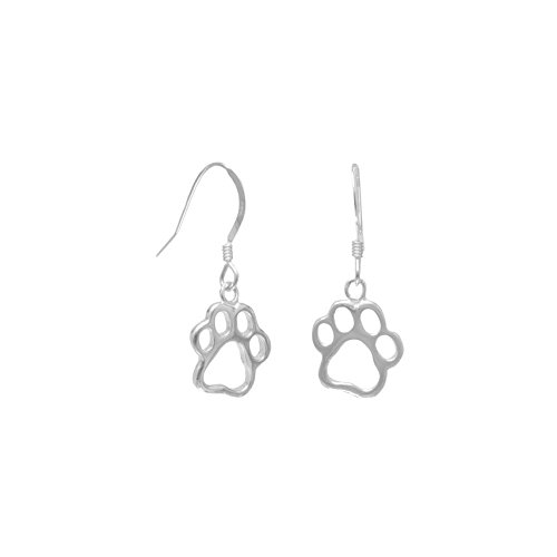 Polished Sterling Silver French Wire Earrings Cut Out Paw Prints Cut Out Paw Prints Measure -