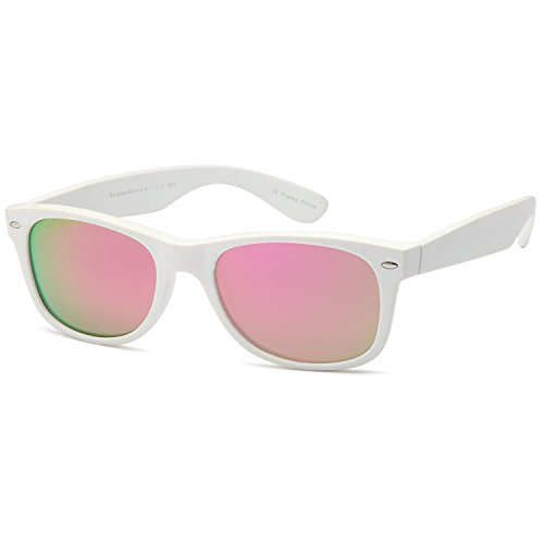 GAMMA RAY CHEATERS Best Value Polarized UV400 Wayfarer Style Sunglasses with Mirror Lens and Multi Pack Options Adult - Mirror Pink Lens on Matte White Frame