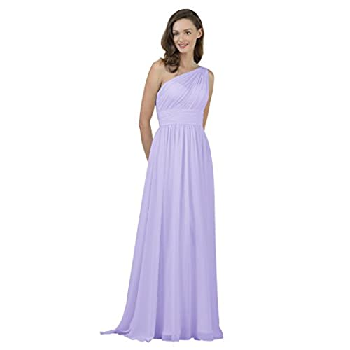 Alicepub One Shoulder Bridesmaid Dress for Women Long Evening Party Gown Maxi, Lilac, US18