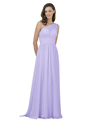 Cummerbund Lilac (Alicepub One Shoulder Bridesmaid Dress for Women Long Evening Party Gown Maxi, Lilac, US10)