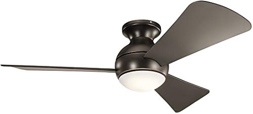 Blade Contemporary Flush Mount - Kichler 330151OZ Sola-44 Ceiling Fan with Light Kit, Brown Blade Finish, 44 Inch, Old Bronze