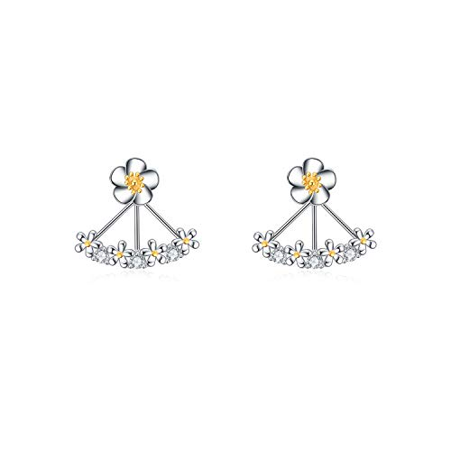 POPLYKE Sterling Silver Daisy Flower Ear Jacket Earrings,Ear Climber Earrings for Women - Sterling Silver Daisy Flower Earrings