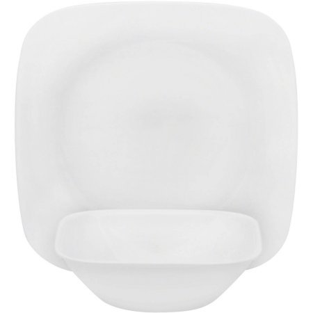 Corelle Square Pure White 16-Piece Dinnerware Lunch Set, Service for 8