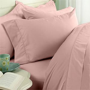 Pink (Blush) Plain - Solid Queen Size Bed Sheet Set - 600 Thread 100% Natural Combed Cotton [Fitted Sheet + Flat Sheet + 4 pillowcases]