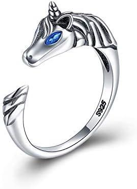 The Ring Einhorn Schmuck Geschenk Echt Silber 925 für Kinder, Mädchen and Frau. Kinderschmuck Mädchen, Unicorn Pferd Form Verstellbar Jewelry kinderring. Kindergeburtstag Kinderringe Geschenk …