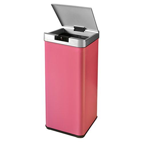BestOffice 13 Gallon Trash can Automatic Sensor Free Touch Motion Garbage Bin Stainless Steel (Pink Trash Can With Lid)