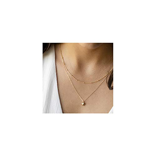 Mevecco Gold Dainty Layered Heart Chain Necklace for Women,14K Gold Plated Cute Tiny Heart Shaped Beaded/Satellite Chain Minimalist Simple Necklace ()
