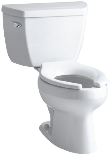(Kohler K-3531-0 Wellworth Pressure Lite Elongated 1.0 gpf Toilet with Left-Hand Trip Lever, Less Seat, White)