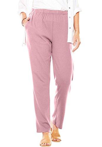 Women's Plus Size 7-Day Knit Petite Straight Leg Pant Rose (Rose Knit Pants)