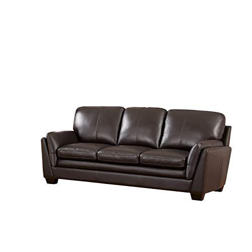 Abbyson Living Bella Leather Sofa in Dark Brown