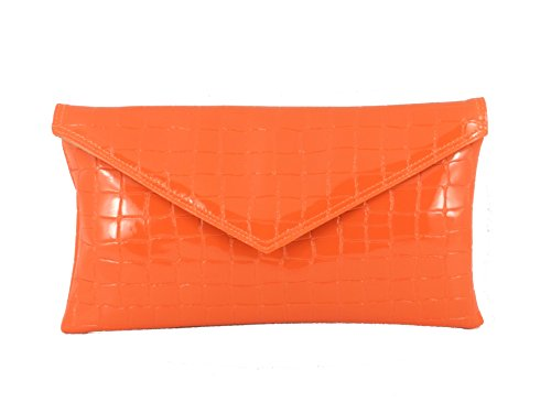 Orange croc envelope Neat Womens Loni patent clutch bag q1HSx7w