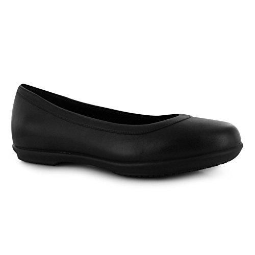 Crocs Ninos Grace Flat Zapatos Ponerse Chicas Casual Calzado Ponerse Acolchado Black/black