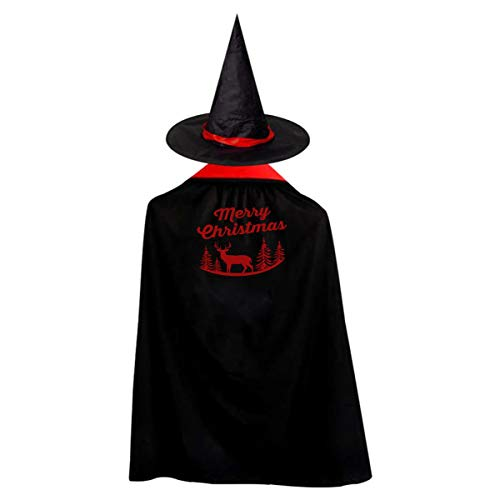 MerryChristmas Deer Silhouette, On Halloween Red Christmas Morning,Christmas Lights,Xmas Celebration Wizard Hat Cape Cloak M