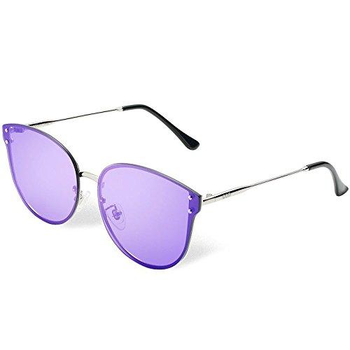 sesgada Atrás Sol Gafas Sol Gafas Gafas Ojo polarizadas Purple en Clásico de de de Guía Plata de TL Sol Mujer Gato Sunglasses Metal qYX44pw