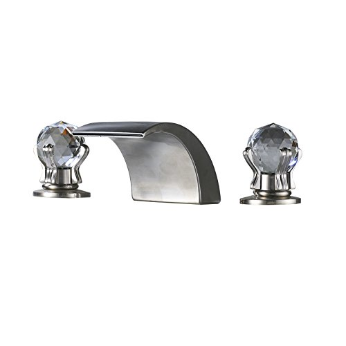 Spout Knob - Senlesen Led Waterfall Spout Widespread Bathroom 2 Crystal Knobs Sink Faucet Brushed Nickel