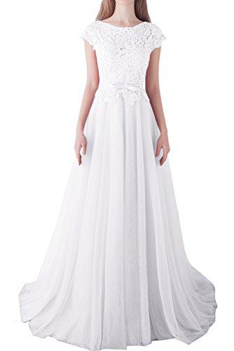 Aermeln Traumhaft Ballkleider Weiß Lang Damen Ivydressing Mit Abendkleid Spitze Promkleid C7twqx