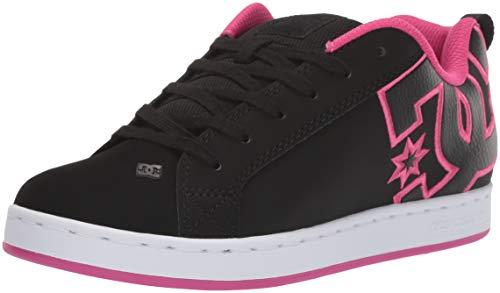 DC Women's Court Graffik Skate Shoe, Black/Pink Stencil, 6.5 M US