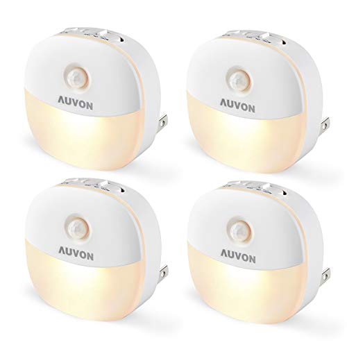 AUVON Plug-in LED Motion Sensor Night Light, Mini Warm White LED Nightlight with Dusk to Dawn Motion Sensor, Adjustable Brightness for Bedroom, Bathroom, Kitchen, Hallway, Stairs (4 Pack)