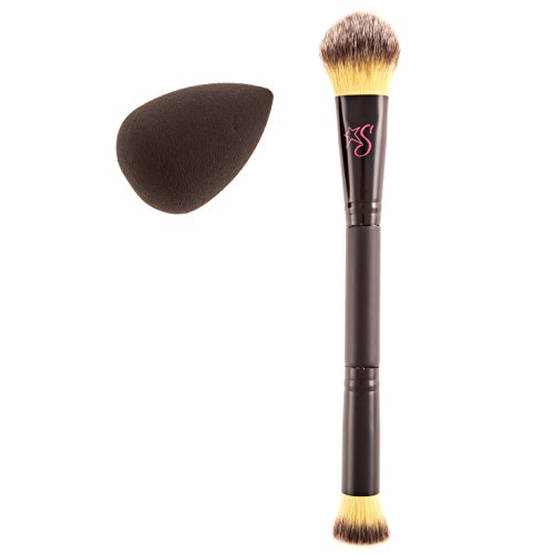 Stashia Contour Brush and Blend Set Dual End Makeup Pro Series Cruelty Free with Face Blending Sponge by Stashia