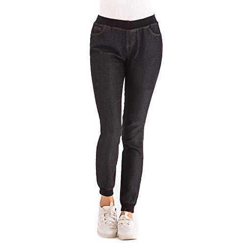 Ocasionales 2018 Elastic otoño del recortados Las Longra de Pantalones Negro otoño Plus de elásticos Mujeres del más Vaqueros tqyOgz