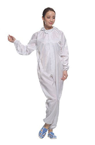 Dust Proof and Anti-static Zip Jumpsuit Protection Coveralls (Medium, White)