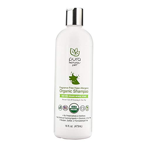 (Pura Naturals Pet - Fragrance Free Hypo-Allergenic Organic Shampoo, Natural Itch Relief, No Harsh Ingredients, Eco-Friendly (16 oz))