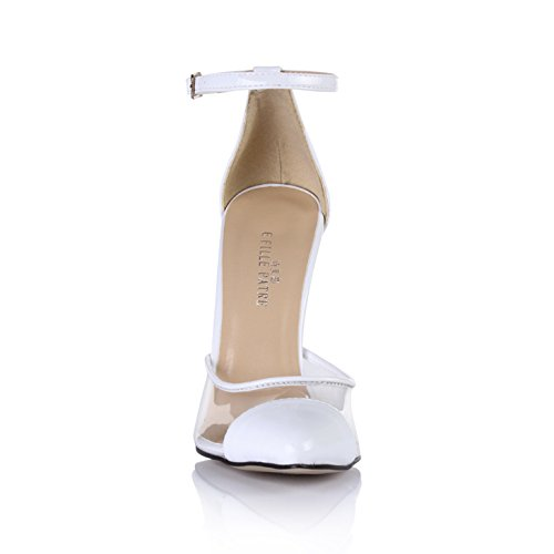 Temperamento Punto Blanca Cena Adhesiva Alta Mujer De Cristal El Haga Clic Shoes En Nuevo Otoño Transparente Zapatos White Heel vYqAPz