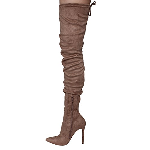 Liliana GE32 Damen Spitze Zehe Strings High High Stiletto Stiefel Taupe